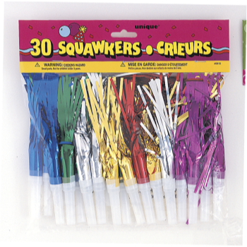 Image de DECOR - NOISEMAKERS - 30 FRINGED SQUAWKERS