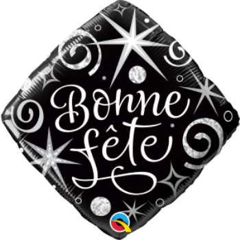 "Image de 18"" FOIL - BONNE FETE BLACK AND WHITE"