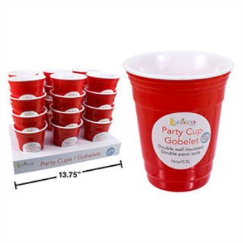 Picture of RED PLASTIC TUMBLER 16oz