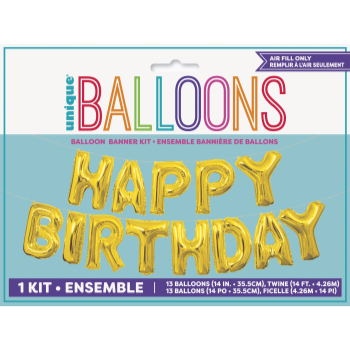 Picture of FOIL BALLOON BANNERS - HAPPY BDAY GOLD