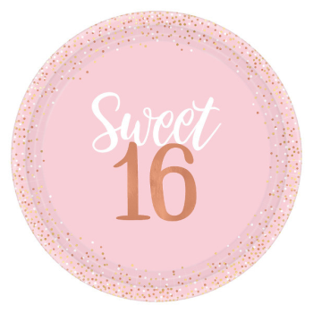 "Picture of 16th - SWEET 16TH BLUSH 10"" PLATES"