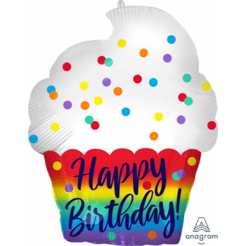 "Picture of 18"" FOIL - HAPPY BIRTHDAY SATIN CUPCAKE JUNIOR SHAPE"