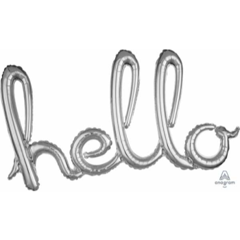 Picture of HELLO SILVER BALLOON BANNER - AIR FILLED