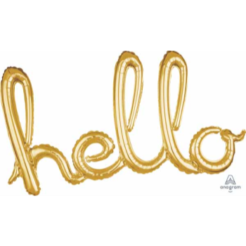 Picture of HELLO GOLD BALLOON BANNER - AIR FILLED