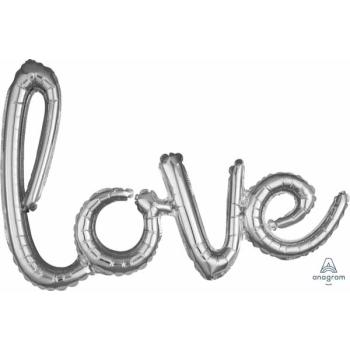 Picture of LOVE SILVER MYLAR BALLOON BANNER - AIR FILLED