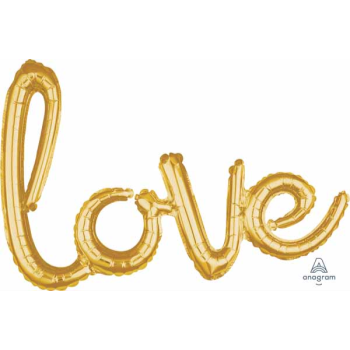 Picture of LOVE GOLD MYLAR BALLOON BANNER - AIR FILLED
