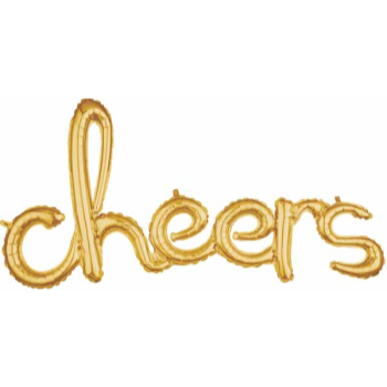 Picture of CHEERS GOLD MYLAR BALLOON BANNER - AIR FILLED