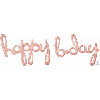 Picture of HAPPY BIRTHDAY ROSE GOLD MYLAR BALLOON BANNER - AIR FILLED