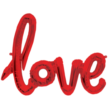 Picture of LOVE RED MYLAR BALLOON BANNER - AIR FILLED
