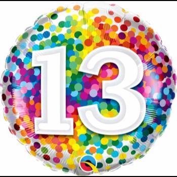 """Image de 18"""" FOIL - 13th RAINBOW CONFETTI"""