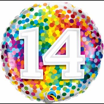"""Image de 18"""" FOIL - 14TH RAINBOW CONFETTI"""
