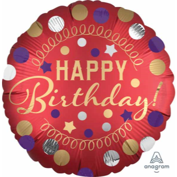 "Picture of 18"" FOIL - HAPPY BIRTHDAY RED SATIN PARTY"