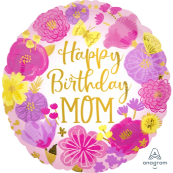 """Picture of 18"""" FOIL - MOM  HAPPY BIRTHDAY"""