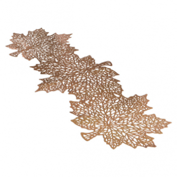 Picture of VINYL LEAF TABLE RUNNER  - GOLD