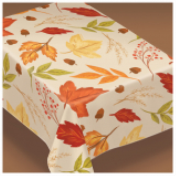 Picture of FALL FOLIAGE FLANNEL BACKED TABLE COVER