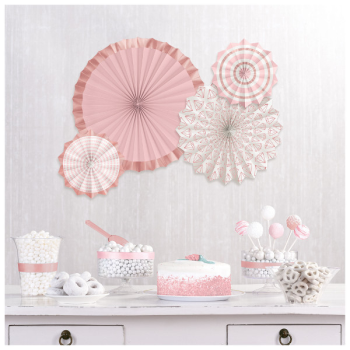 Picture of Blush Wedding Paper Fans - Hot Stamp