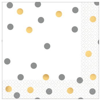 Picture of GOLD AND SILVER CONFETTI BEVERAGE NAPKINS - HOT STAMPED