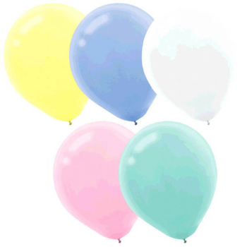 """Picture of 12"""" PASTEL ASSORTED LATEX BALLOONS 15/PKG"""