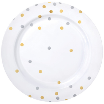 "Picture of GOLD AND SILVER CONFETTI 10"" PLASTIC PLATES - HOT STAMPED"