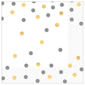Picture of GOLD AND SILVER CONFETTI LUNCHEON NAPKINS - HOT STAMPED