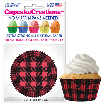 Picture of BAKING CUPS - STANDARD - RED AND BLACK BUFFALO PLAID  32/PKG