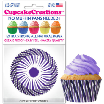 Picture of BAKING CUPS - STANDARD - PURPLE SWIRL  32/PKG