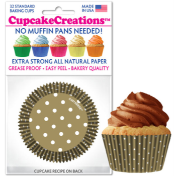 Picture of BAKING CUPS - STANDARD - GOLD POLKA DOT 32/PKG