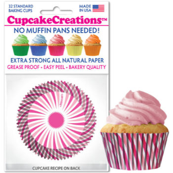 Picture of BAKING CUPS - STANDARD - PINK SWIRL  32/PKG