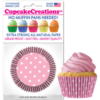 Picture of BAKING CUPS - STANDARD - PINK POLKA DOTS 32/PKG