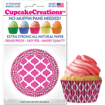 Picture of BAKING CUPS - STANDARD - PINK FOIL 32/PKG