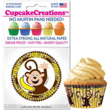 Picture of BAKING CUPS - STANDARD - MONKEY BUSINESS 32/PKG