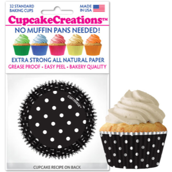 Picture of BAKING CUPS - STANDARD - BLACK AND WHITE POLKA DOTS 32/PKG