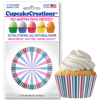 Picture of BAKING CUPS - STANDARD - GENDER REVEAL STRIPES  32/PKG