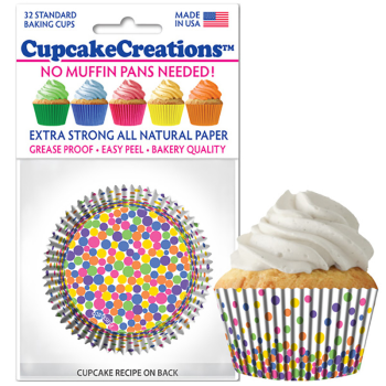 Picture of BAKING CUPS - STANDARD - FUN DOTS  32/PKG