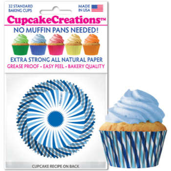 Picture of BAKING CUPS - STANDARD - BLUE SWIRL  32/PKG