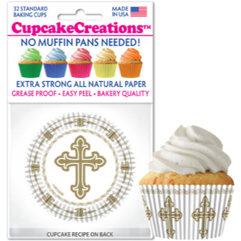 Image de TABLEWARE - BAKING CUPS - WHITE with silver cross