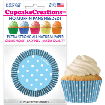 Picture of BAKING CUPS - STANDARD - BLUE POLKA DOTS 32/PKG
