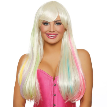 Picture of LONG STRAIGHT WIG - PLATINUM/BRIGHT PASTEL RAINBOW