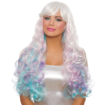 Image de LONG WAVY LAYERED WIG - WHITE/PINK/LAVENDER/LIGHT BLUE