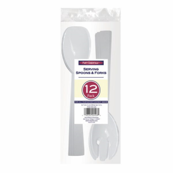 Image de SERVING FORK AND SPOON SET - WHITE