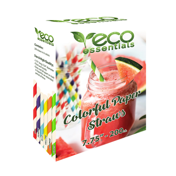 "Image de ECO - 7.75"" PAPER STRAWS - ASST COLORS"
