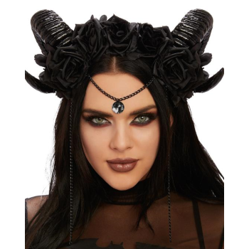 Image de ANIMAL - RAM HEADPIECE WITH BLACK ROSES