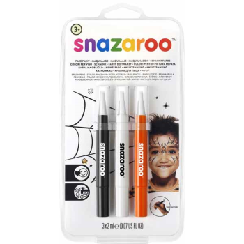 Image de SNAZAROO -  BRUSH PENS - HALLOWEEN (BLACK,ORANGE,WHITE)