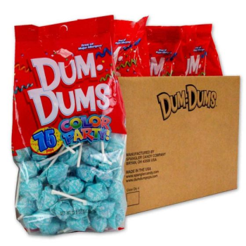 Image de 75ct DUM DUMS BLUE RASBERRY LOLLIPOPS - LT BLUE WRAPPER