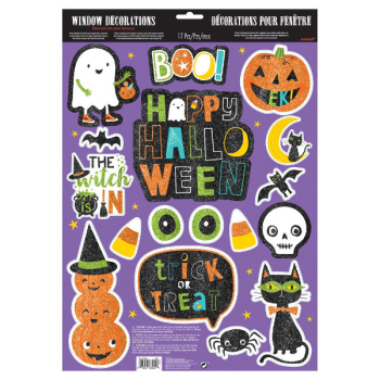 Picture of HALLOWEEN FRIENDS GLITTER WINDOW DECORATIONS