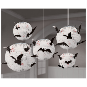 Picture of WHITE HANGING PAPER LANTERNS WITH BAT ADD-ONS