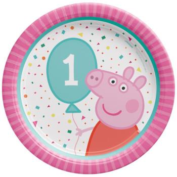 "Image de PEPPA PIG 1ST BIRTHDAY -  7"" ROUND  PLATE"