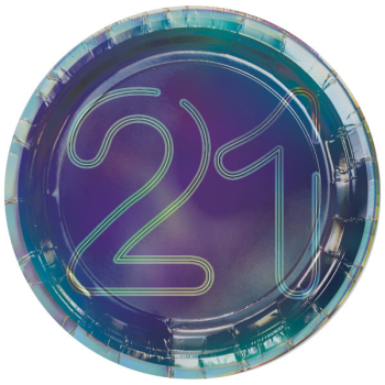 "Picture of 21st - FINALLY 21 7"" ROUND IRIDESCENT PLATE"