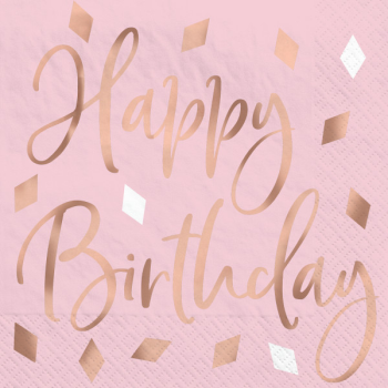 Picture of TABLEWARE - BLUSH BIRTHDAY - BEVERAGE NAPKINS - HOT STAMPED