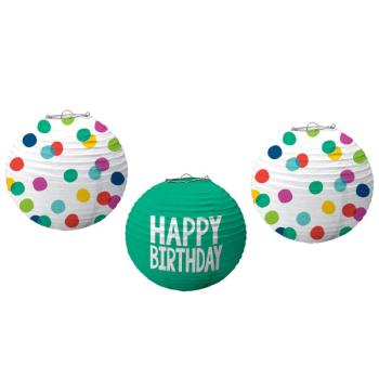 Picture of DECOR - HAPPY DOTS BIRTHDAY LANTERNS